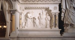 To conform to Vatican II decrees: white Carrara marble Altar of Sacrifice, Ambo and Lectern installed